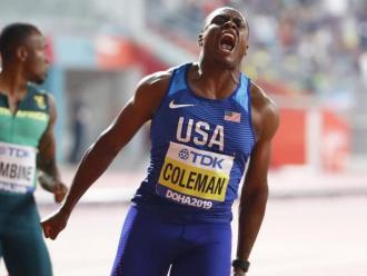 Christian Coleman , campió del món dels 100 m de Doha