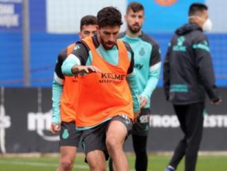 Dídac Vilà, en un entrenament amb l'Espanyol
