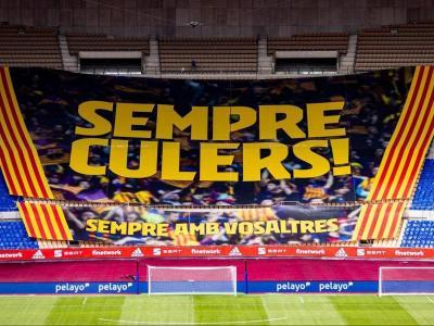 La lona de suport al Barça present a La Cartuja