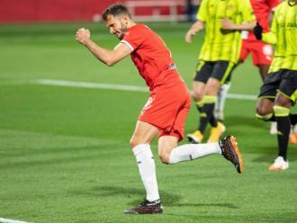 Stuani, Yoel Bárcenas i Nahuel Bustos celebrant gols d'aquesta temporada