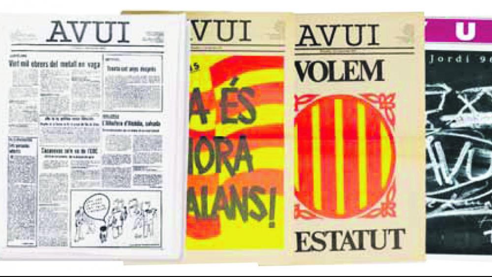 A dalt, dues de les antigues redaccions de l'Avui i, a sota, una parada al carrer on es feien subscripcions.