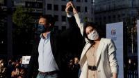Pablo Casado i Isabel Díaz Ayuso, en l'estrena de la campanya electoral de Madrid