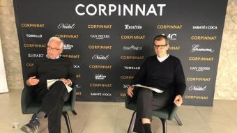 Xavier Gramona i Ton Mata, en un moment de la roda de premsa d'ahir a la seu de Corpinnat