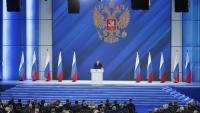 Putin, líder rus, en el seu discurs sobre l'estat de la nació, ahir a Moscou
