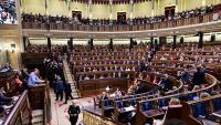 L'hemicicle del Congrés dels Diputats durant la sessió d'investidura de Pedro Sánchez