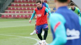 Messi, en l'entrenament d'ahir