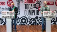 Pepe Ávarez, d'UGT, i Unai Sordo, de CCOO, a la roda de premsa
