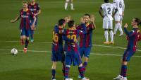 Els jugadors del Barça celebren un dels gols contra el Getafe