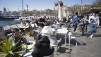 Terrasses plenes per Setmana Santa a la Barceloneta