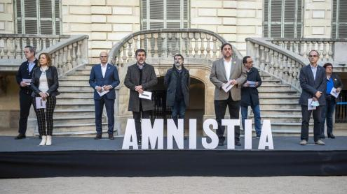<b>Els presos polítics, </b>en un acte conjunt l'1 de febrer per reclamar l'amnistia, poques setmanes abans que se'ls revoqués per segona vegada el tercer grau<b> </b>