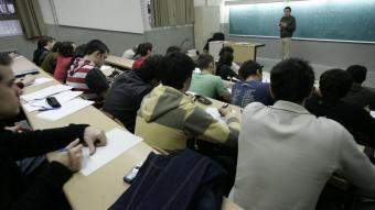 Aula de la facultat de matemàtiques de la UB abans de la pandèmia