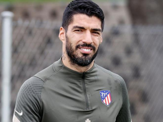Luis Suárez, durant un entrenament amb l'Atlético de Madrid