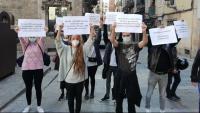 Protesta de rastrejadors de la Covid-19 a Barcelona, el gener passat