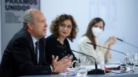 El ministre de Justícia, Juan Carlos Campo, la portaveu del govern espanyol. María josé Montero, i la ministra de Drets Socials i Agenda 2030, Ione Belarra, en una roda de premsa posterior al consell de ministres