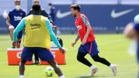 Messi, en l'entrenament d'ahir a la ciutat esportiva