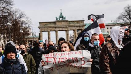 Protesta ultradretana, el març passat, davant la Porta de Brandenburg, a Berlín