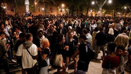 Passeig Lluís Companys de Barcelona dissabte a la nit