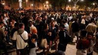 Celebració al passeig de Lluís Companys, dissbte a la nit