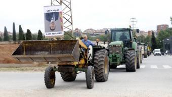 La marxa lenta amb tractors que es va fer ahir al matí a Manresa