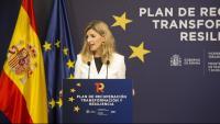 La vicepresidenta tercera del govern espanyol i ministra de Treball i Economia Social, Yolanda Díaz, en una roda de premsa aquest dilluns