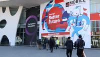 Entrada al recinte de Gran Via de la Fira de Barcelona el dia previ a l'inici oficial del Mobile World Congress l'any 2018