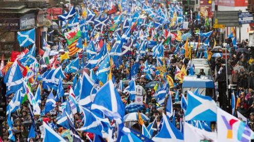 <b>Manifestació a favor de la independència </b> a Glasgow, el gener de 2020