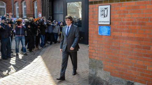 <b>El president Puigdemont, </b>el 6 d'abril del 2018, quan va sortir de la presó de Neumünster, en llibertat provisional, en espera de la sentència dels tribunals alemanys que es va dictar el mes de juliol d'aquell any