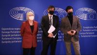 Els eurodiputats Clara Ponsatí, Carles Puigdemont i Toni Comín, el gener passat