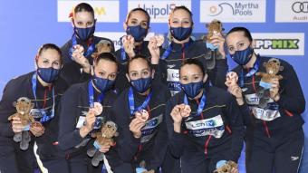 L'equip espanyol, amb la medalla de bronze