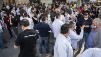 Els treballadors de Nissan i de les empreses auxiliars es van concentrar a la cantonada del passeig de Gràcia amb l'avinguda de la Diagonal de Barcelona, ahir a la tarda