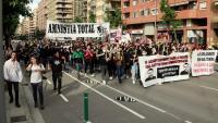 La manifestació pels carrers de Lleida