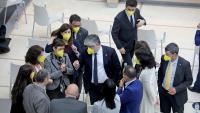 El grup parlamentari de Junts, el dia de la investidura fallida d'Aragonès