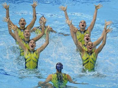 Les vuit iguanes de l'equip espanyol al Duna Arena de Budapest