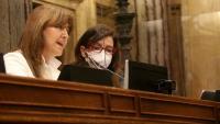 La presidenta del Parlament, Laura Borràs, presidint el ple amb la vicepresidenta Eva Granados al costat el passat 13 d'abril