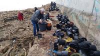 Un grup de voluntaris recullen plàstics a la platja d'Arenys de Mar després del temporal Gloria