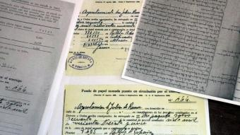 Alguns dels documents que demostren l'espoli que va patir l'Ajuntament de Ramis durant el franquisme