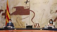 Aragonès i Budó, durant la darrera reunió del consell executiu de la legislatura d'ahir al matí