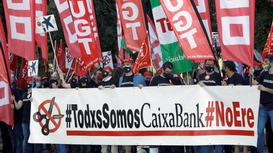 Protesta per l'ERO a CaixaBank