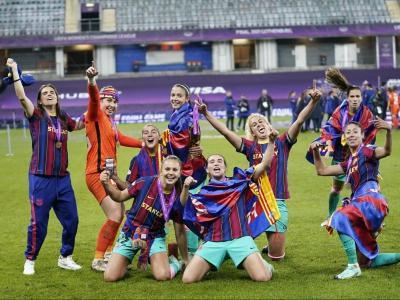 Les jugadores del Barça celebren la Champions