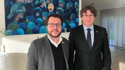 Aragonès i Puigdemont a Waterloo el 14 de novembre de 2018
