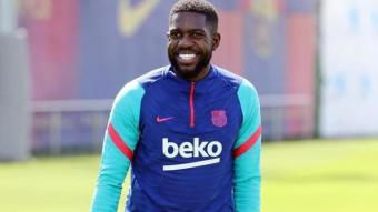 Umtiti, somrient, en un dels últims entrenaments de la temporada