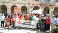 Un moment de la concentració de protesta ahir davant del Parlament de Catalunya