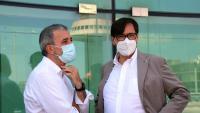 El secretari d'organització del PSC, Salvador Illa, i el primer tinent d'alcalde de Barcelona, Jaume Collboni, en un acte a l'Aeroport del Prat