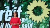 La candidata d'Els Verds alemanys Annalena Baerboc , intervenint en el congrés digital que va celebrar el partit, ahir