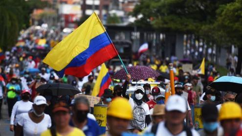 Manifestació multitudinària a Cali, capital de la Vall del Cauca.