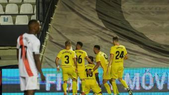 Els jugadors del Girona celebren l'1-2 de Mamadou Sylla