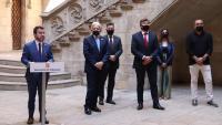 El president Aragonès intervé durant l'acte al Palau de la Generalitat