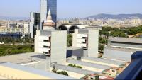 Pla general dels pavellons de l'Hospital del Mar, sobre els quals es construirà el nou edifici, corresponent a la segona fase de l'ampliació del centre