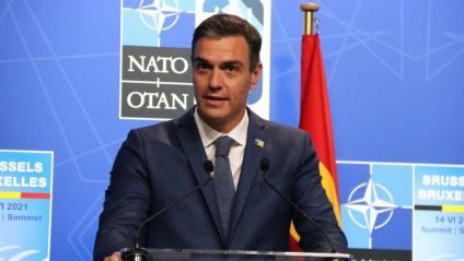 El president del govern espanyol durant la roda de premsa després de la cimera de l'OTAN