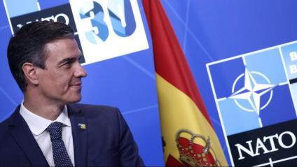Pedro sánchez, ahir,  en la trobada de l'OTAN  a Brussel·les